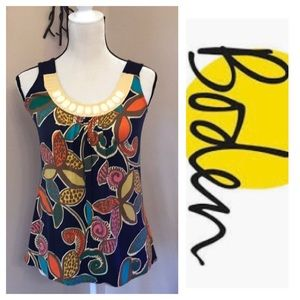 Boden Floral Beaded Neckline Tank Top